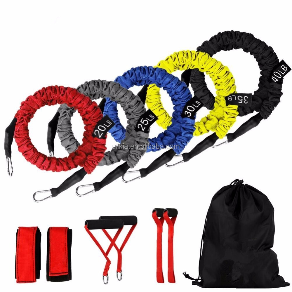 <strong>Fitness</strong> 11 Pieces Exercise Elastic Resistance Bands Set, 20lbs To 40lbs With Heavy Duty Protective Nylon Sleeves Anti-Snap