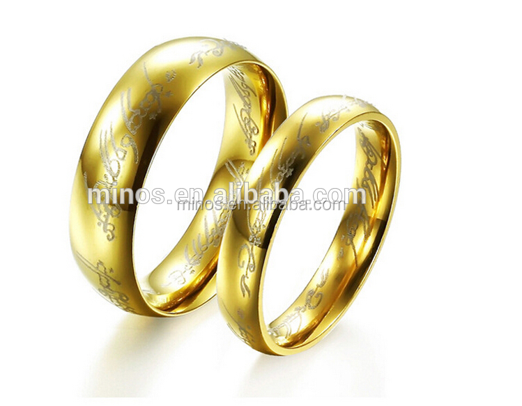 24k Gold Plated Dubai Wedding Couple Rings Jewelry Model Gold