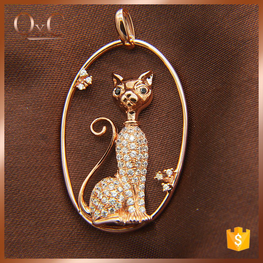 Simple Diamond Pendant AAA Sterling Silver Pendant Elegant necklace cat pendant
