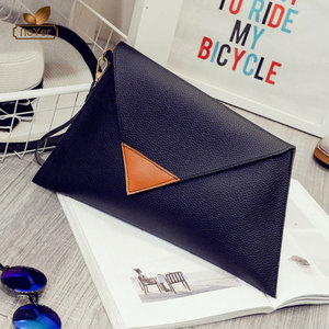 wholesale custom leather purse evening bag china triangle clutches for woman
