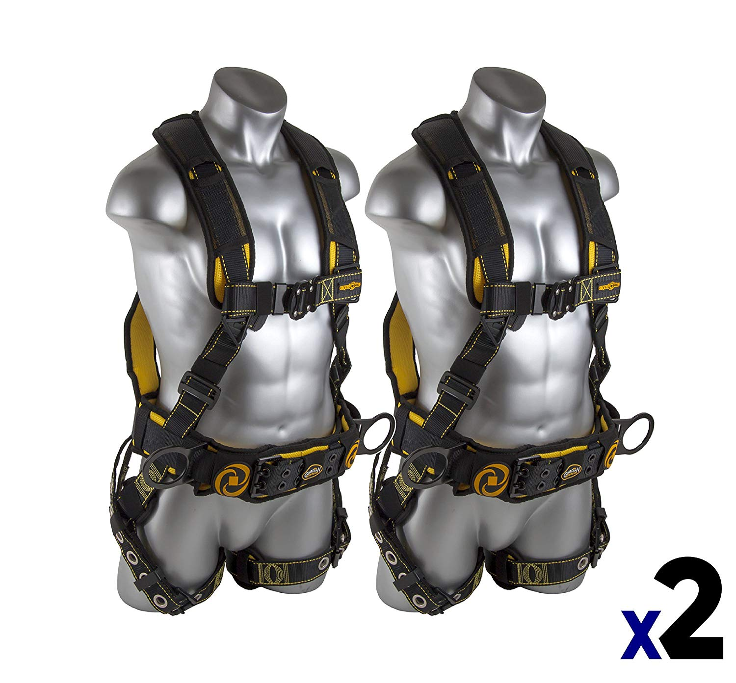 Guardian Fall Protection 21030 Cyclone Construction Harness with QC Chest/TB Leg/TB Waist Belt/Side D-Rings, Black/Yellow (2 Pack)