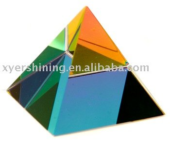 Crystal pyramid paper weight
