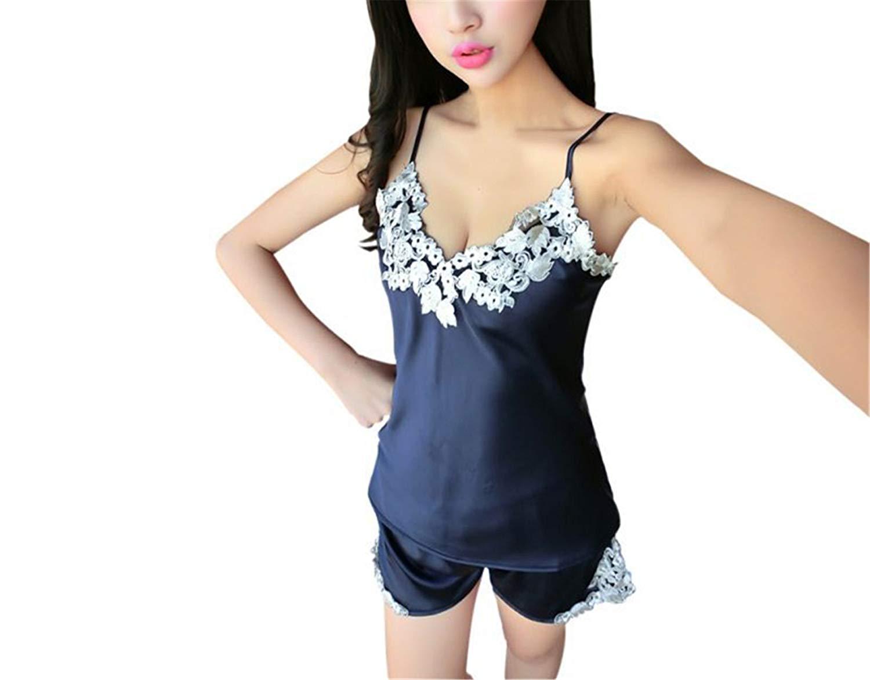 Get Quotations · Ladies Sexy Silk Satin Pajama Set Lace V-Neck Sleepwear  Women Summer Style Home Wear 61405dd80