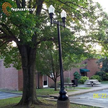 Double Arm Antique Light Poles Decoration Powder Coat Black Cast Iron Outdoor Lamp Post Garden Pole Product