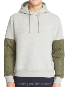 100% Cotton Colorblock Quilted Sleeve Mens Hoodie
