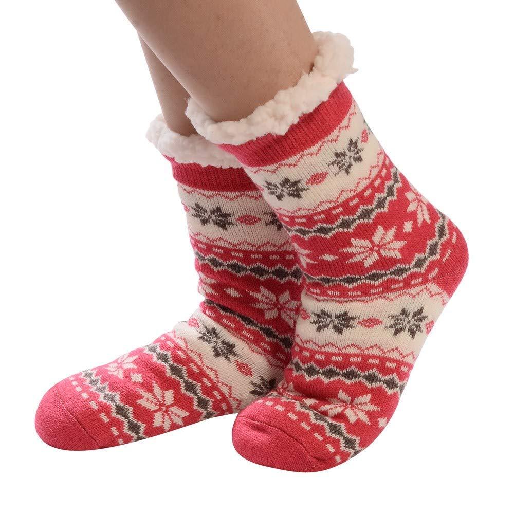 9059ce899b0da Get Quotations · Merry Christmas - Franterd Women Men Christmas Thicker  Anti-Slip Fleece Floor Socks Carpet Socks