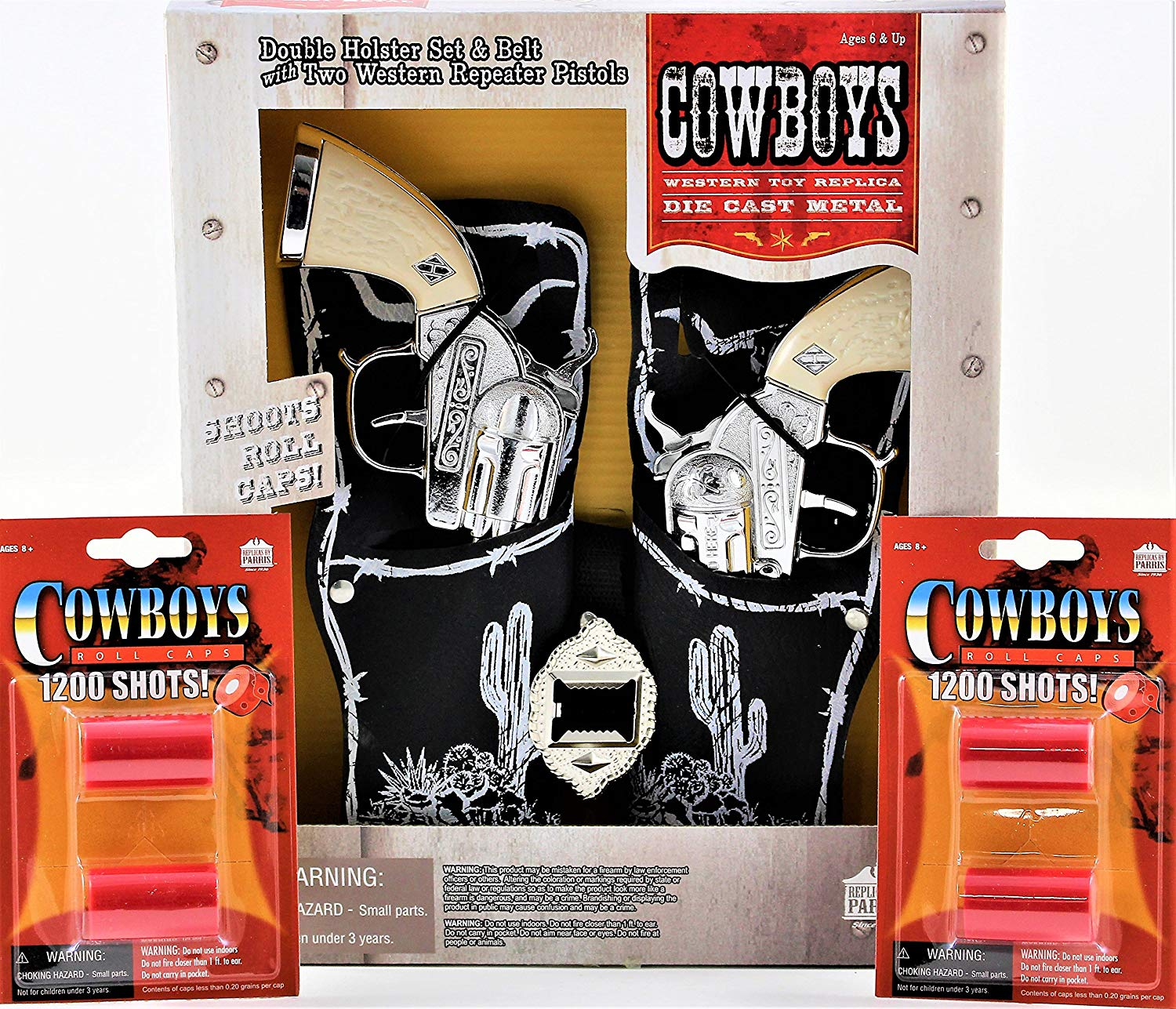 fff3b8b9681 Get Quotations · Scout Double Holster Toy Cap Gun Box Set with 2 Pack Roll  Caps