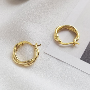 E1179 Minimalist European Fashion Jewellery 18K Gold Twisted Circle Hoop Earrings Silver 925 Earrings Women