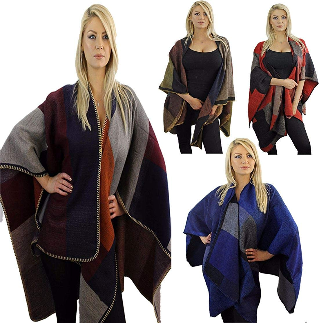 MA ONLINE Womens Warm Winter Thick Patchwork Throw Over Shawl Cape Ladies Casual Wear Blanket