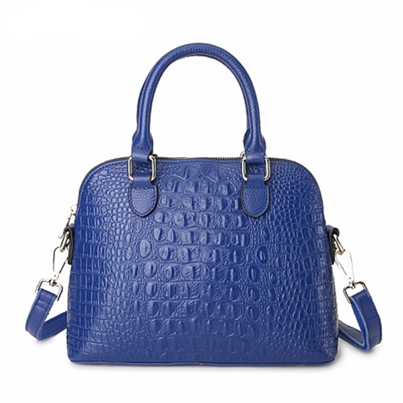Top Brand fashion Genuine Leather large designer handbags,Simple Blue ladies bags Alligator Level cowhide shoulder Totes women