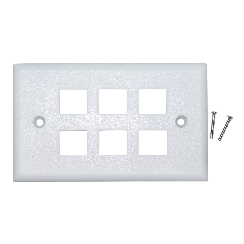 25 Pack Lot 4 port Hole Keystone Jack Wall Plate Smooth Surface White