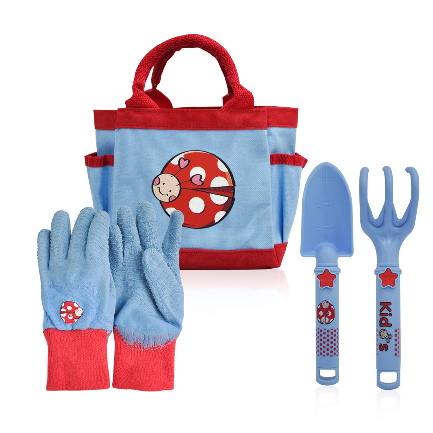 CERBIOR Kids Gardening Tools, 4 Piece Garden Tool Set Kids Gardening Gloves, Rake, Trowel, All in One Gardening Tote