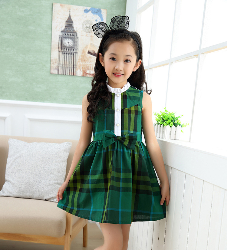 New Models Girls Cotton Sleeveless Dresses Kids Clothes