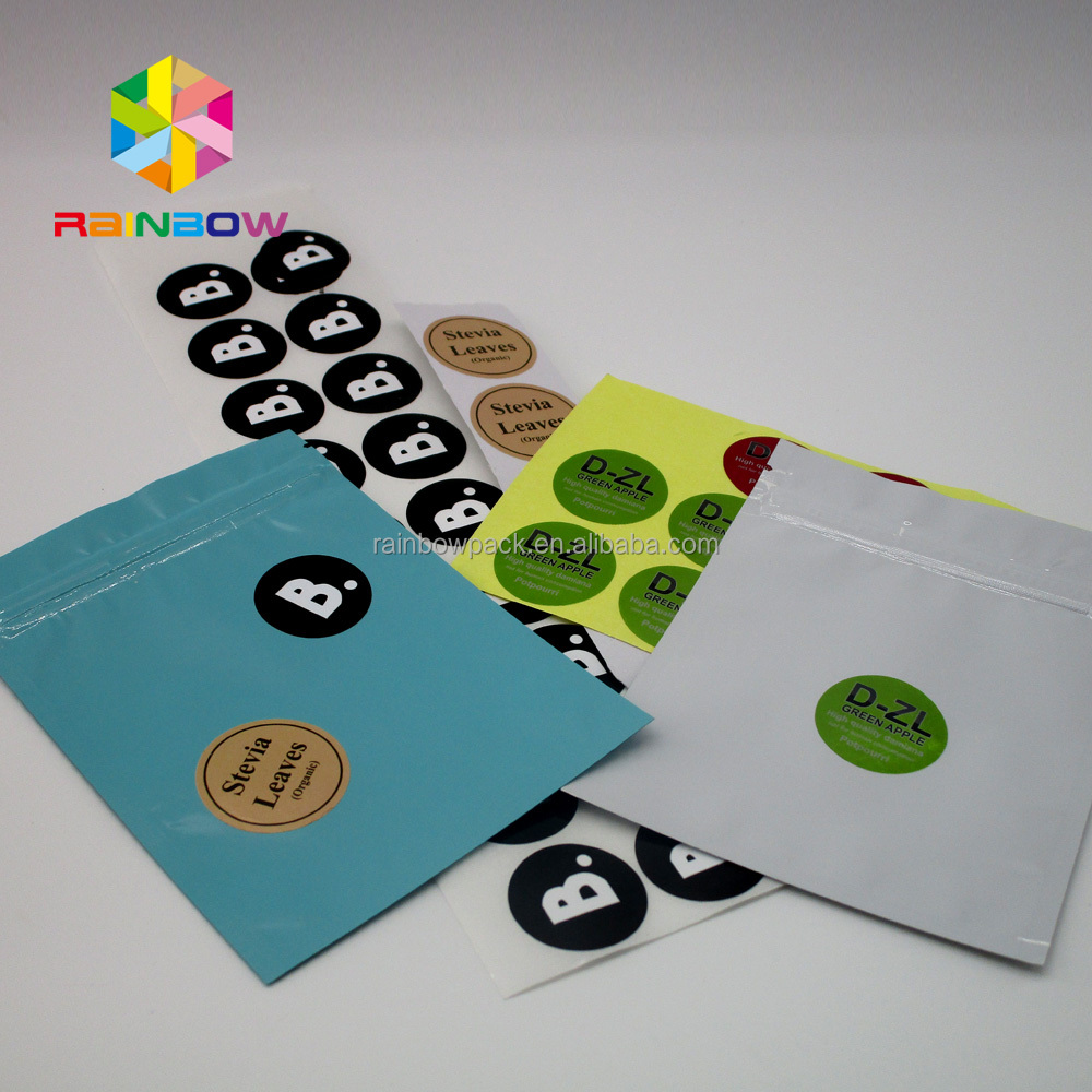 Private logo sticker packaging printing adhesive sticker label for plastic bags