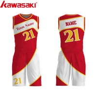 High Quality red full sublimation youth basketball practice jersey basketball uniforms