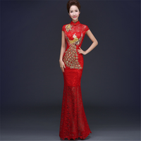 fashion Chinese ladies elegant evening party sequin embroidered peacock fish tail wedding lace cheongsam qipao dress