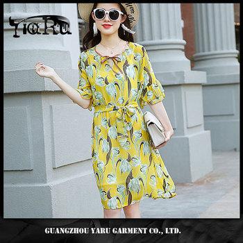 57128cc636 Latest Design Summer Women Flared Sleeve Ruffle Cuff Flower Print Chiffon  Dress