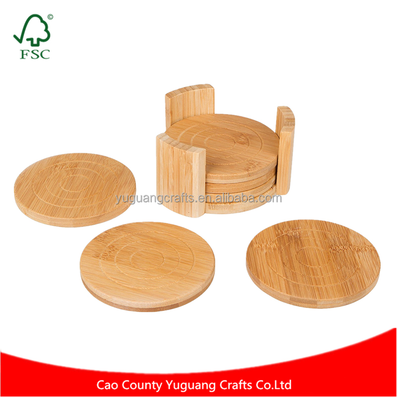 5 Inches in Diameter Natural Round Bamboo Coaster Set of 6 in Holder