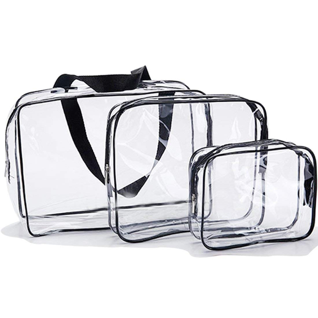 "LXC Clear Tote Bag,every pack have three bags(22""X 30"" X 10"") - (20"" X 24""X 5"") - (14""X 18"" X 4""). This transparent bag is suitable for work, schools, sports meetings and concerts."
