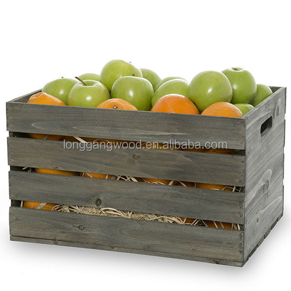 Natural wood fruit vegetable crate boxes buy wooden for Buy wooden fruit crates