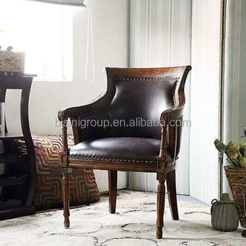Vintage Classic American Style Solid Wood Antique Leather Armchair
