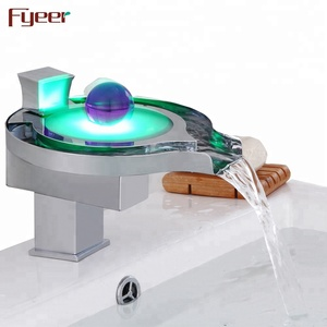 Led function by Hydro Power 3color single handle waterfall led basin faucet