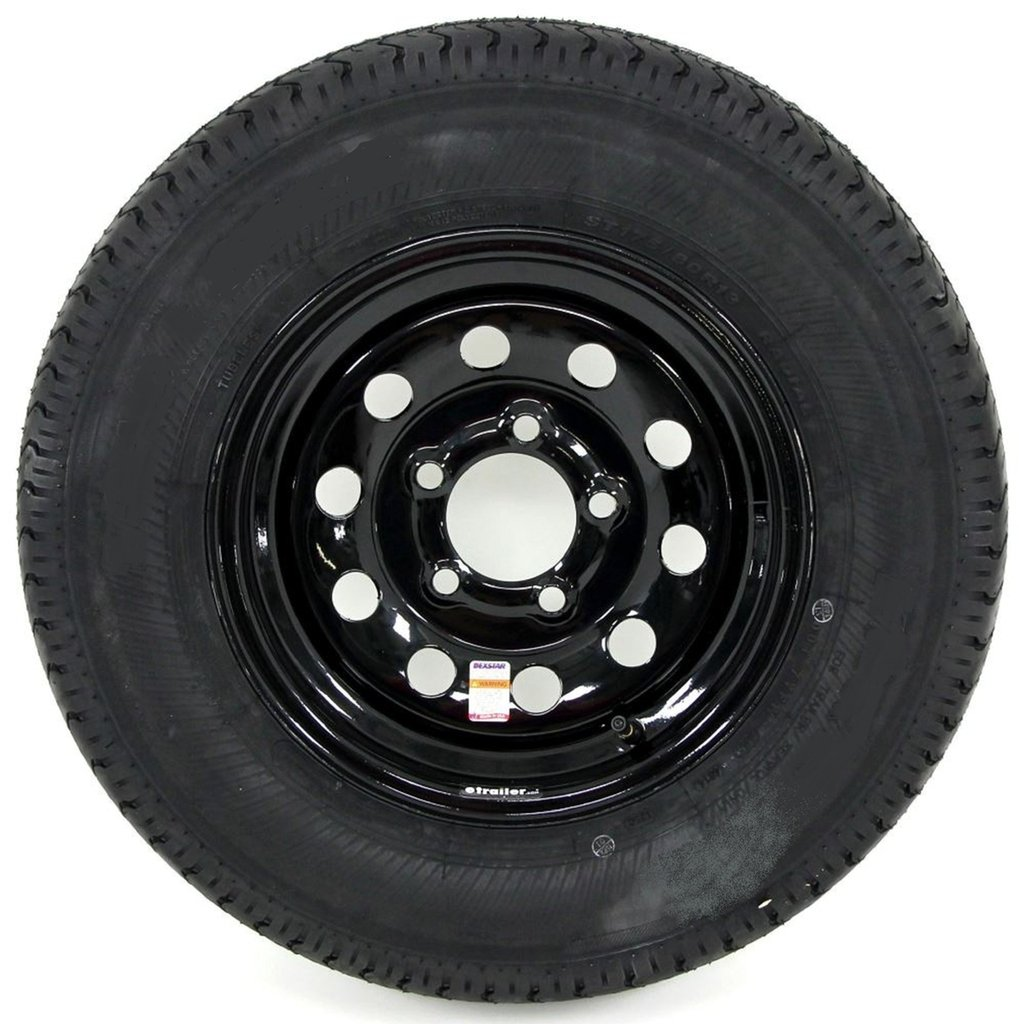 "eCustomRim 2-Pack Trailer Tire On Black Mod Rim ST205/75D15 Load C (5 Lug On 4.5"") 15 x 5"