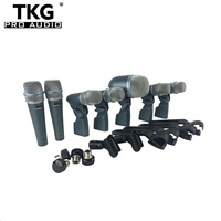 TKG BETADMK7 Beta DMK7 Professional 7 Piece Drum Kit Instrument Microphone Mic For Bass Amp Toms Snare Drum drum microphone set