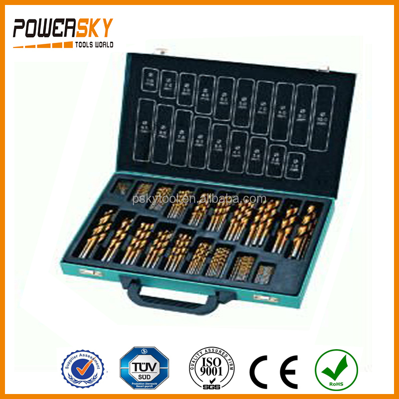 230 pcs DIN 338 Tin Coated HSS4241 Drill Bits Set With Metal Box