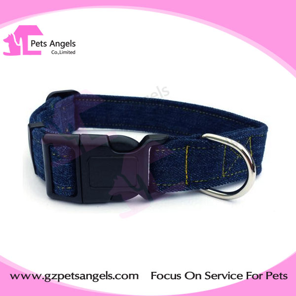 Pet products accessories adjustable canvas jean fabric dog collars with quick release buckle