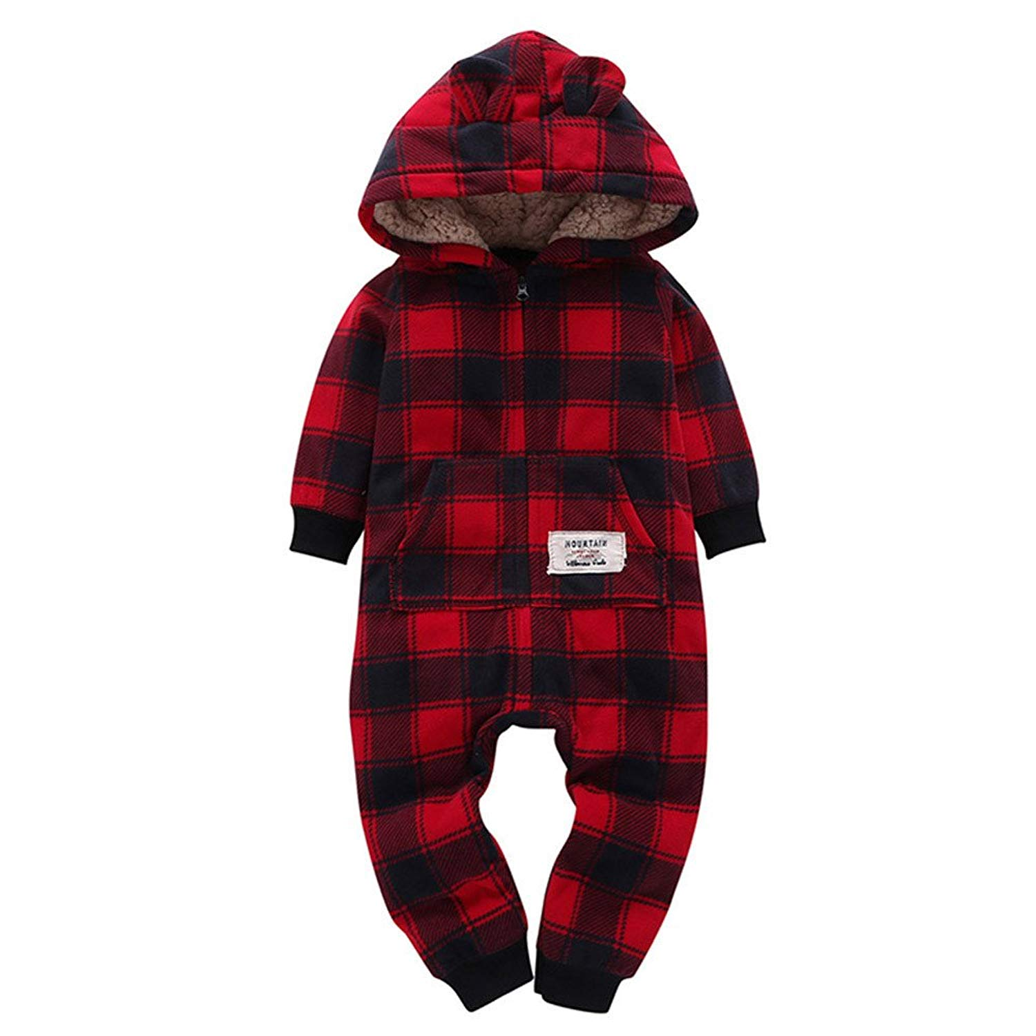 TIFENNY Infant Baby Boys Girls Thicker Lattice Hooded Romper Jumpsuit Outfit