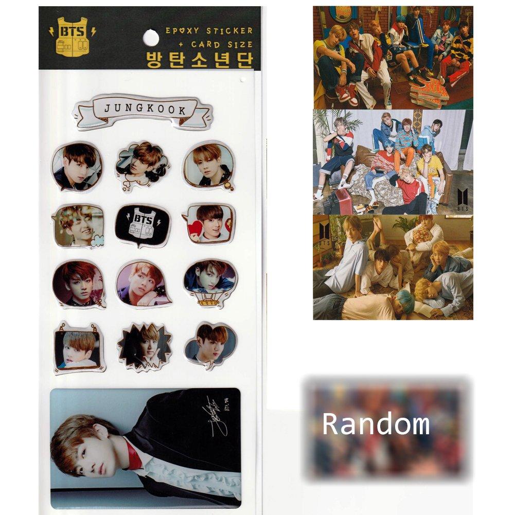 BTS Jungkook Epoxy Stickers 14pcs-Decorative BTS Bangtan Boys Jungkook Stickers + 3 Group Stickers and 1 Random 2 Sides Photo Card- Fan Good
