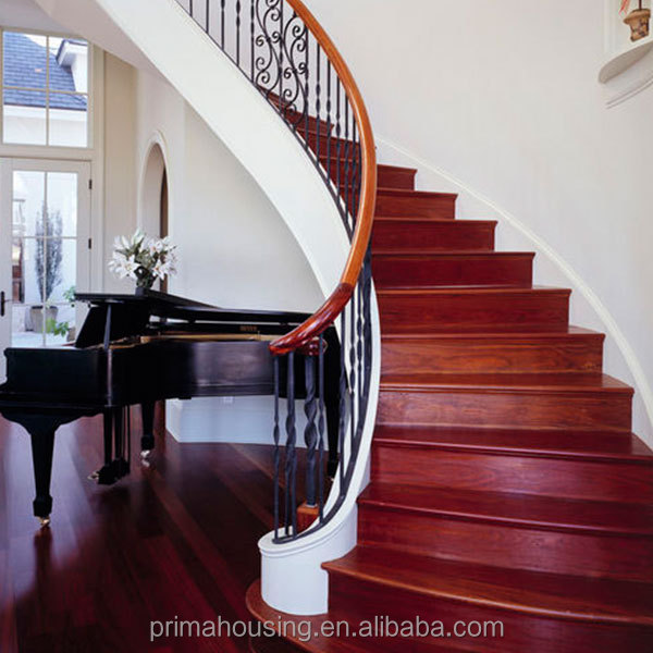 Pretty Red Oak Wood Box Step Curved Staircase Low Cost
