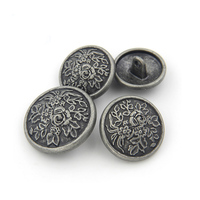 custom size sewing matte finish antique silver metal button for clothes