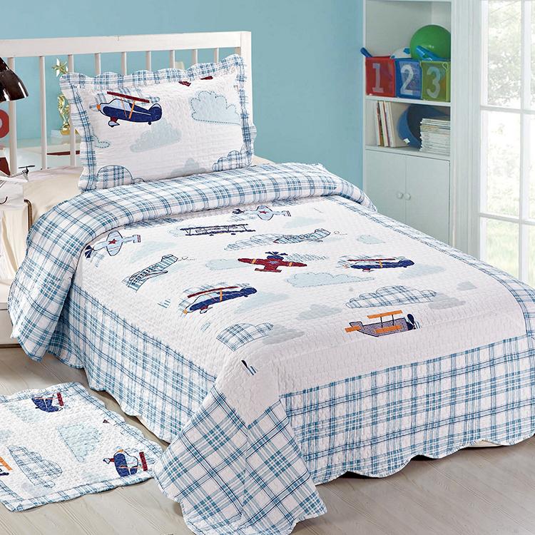 Twin Printed Quilted Children Kids Boy Bedroom Comfortable Bedding Set Quilt