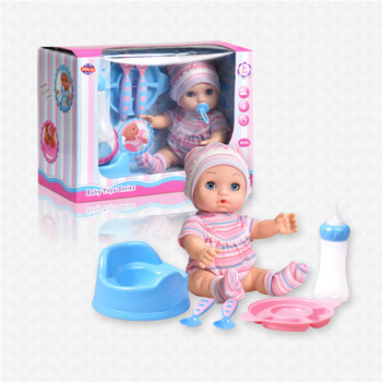 Hot sell 10 inch blowing mold Active eye with sucking and Pee baby doll set