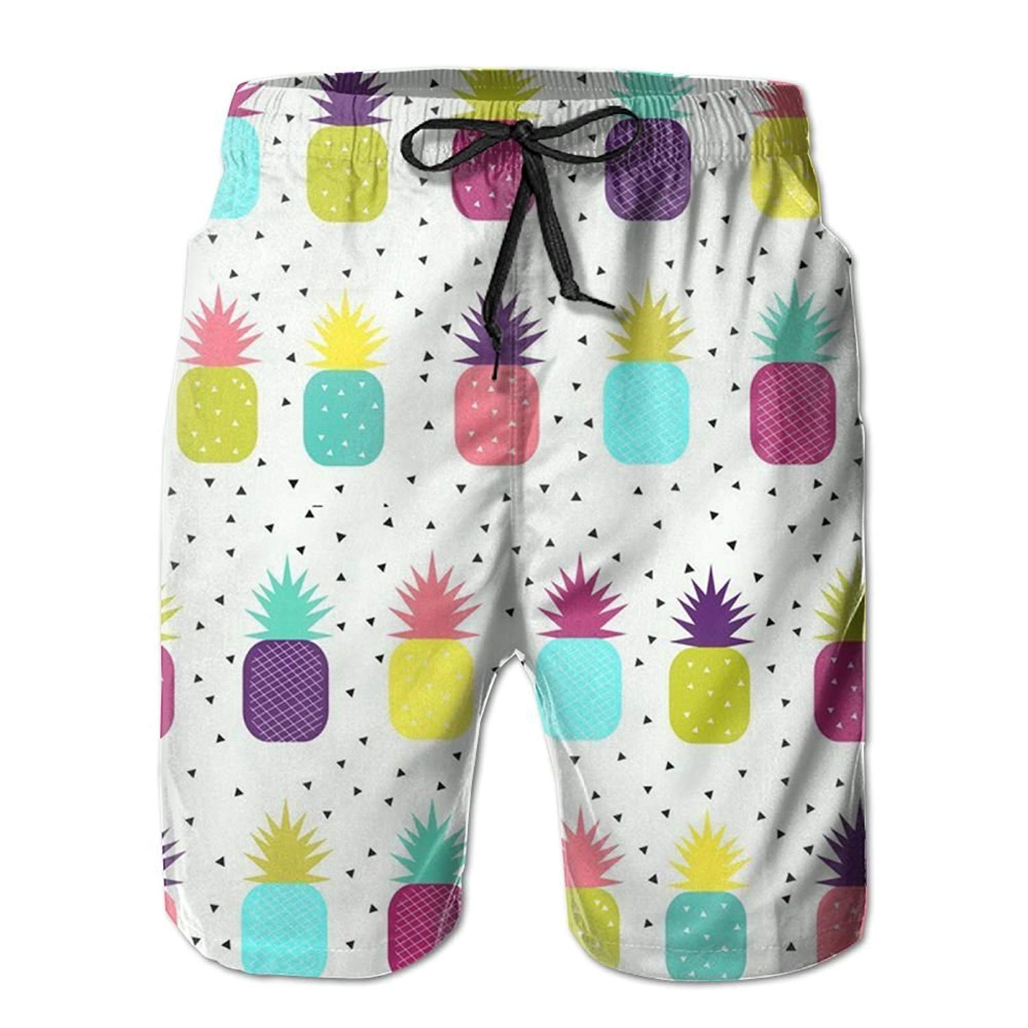 821db46c96 Get Quotations · KIOT156 Pineapples - Bright, Colourful, Neon, Mens Summer  Breathable Swim Trunks Beach Shorts
