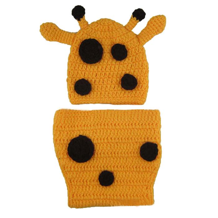 21d9b558efc Get Quotations · Novel designs 2015 baby gifts Catoon Giraffe Knit Crochet  Sets Baby boy girl 0-6