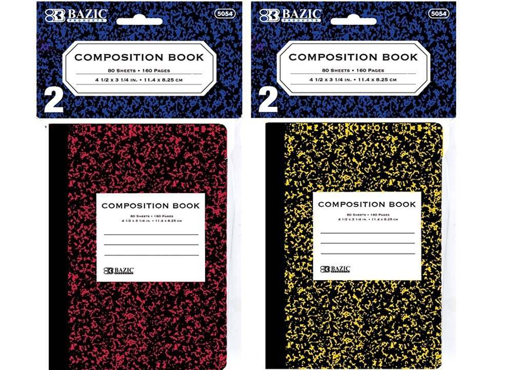 """BAZIC 80 Ct. 4.5"""" x 3.25"""" Mini Marble Composition Book (2/Pack), Case Pack 24"""