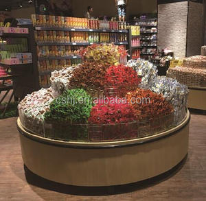 round candy display shelf/rack with acrylic box