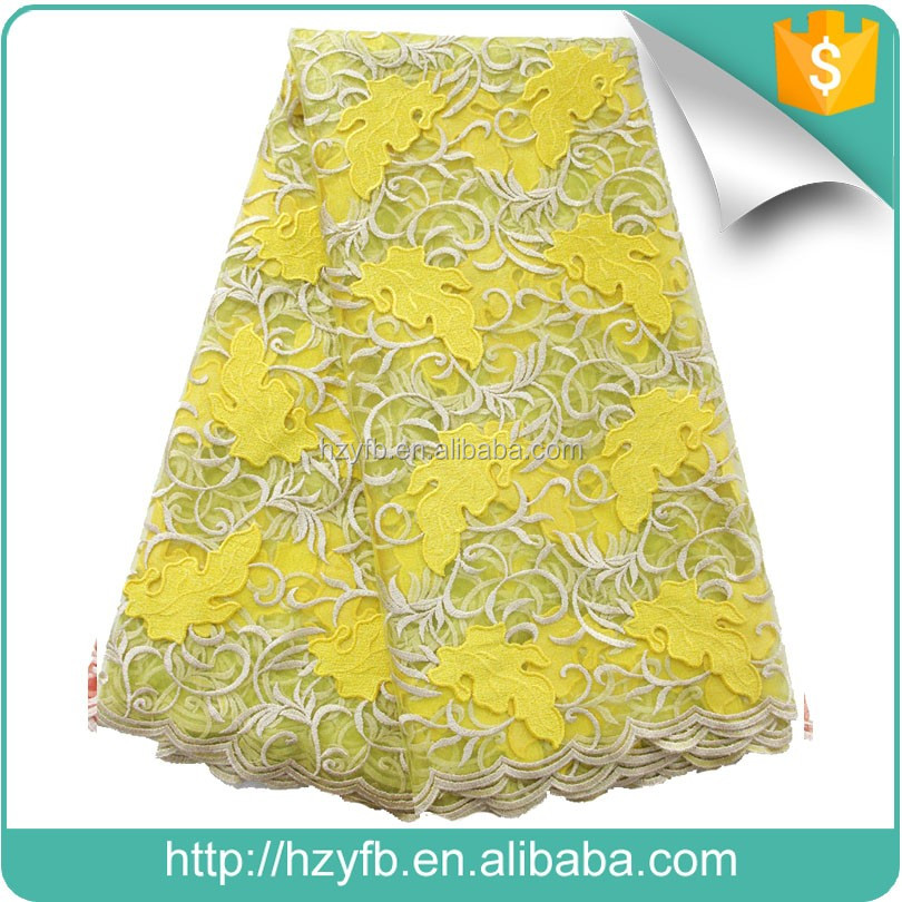 New arrival lace market in guangzhou / yellow red tulle lace fabric african french net / french lace for party