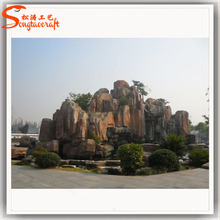 Outdoor fiberglass rock waterfall artificial rock waterfall landscaping