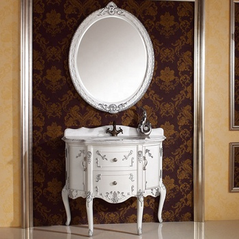 Classic Retro White Lacquer Victorian Silver Leaf Free Standing Bathroom  Vanity With Oval Mirror Wts346   Buy Classic White Bathroom ...