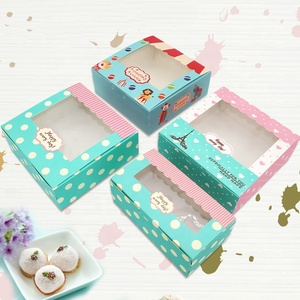 Custom logo printed paper cupcake package bakery food boxes
