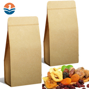 Ziplock Brown Kraft Paper Bags For Salt Or Sugar Packing Pouch Bag With Window