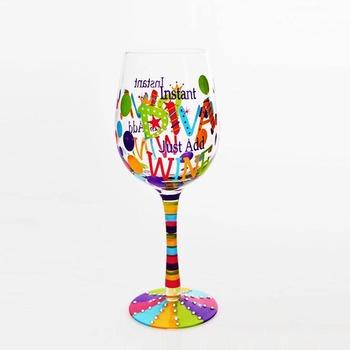 El Yapımı Ağız üflemeli El Boyama Uzun Kök şarap Cam Kurşunsuz Içme