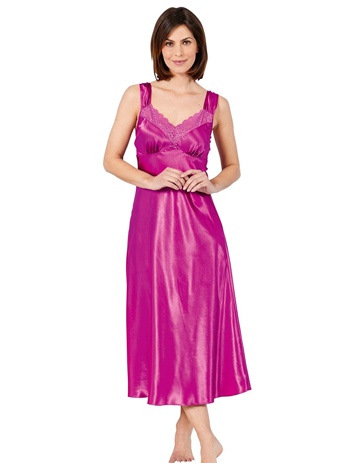 ce5b21e2190 Get Quotations · Amber Ladies Luxury Satin and Lace Nightdress