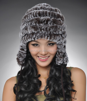 0b09e89d349 Women Winter Rabbit Fur Earflap Military Trooper Hat Winter Fur Hat ...