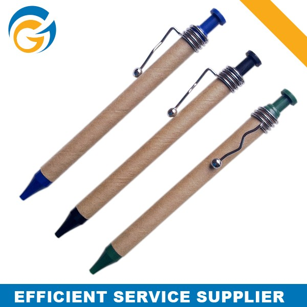 Fast Supplier Custom Designed Paper Ball-point Pens with Metal Clip