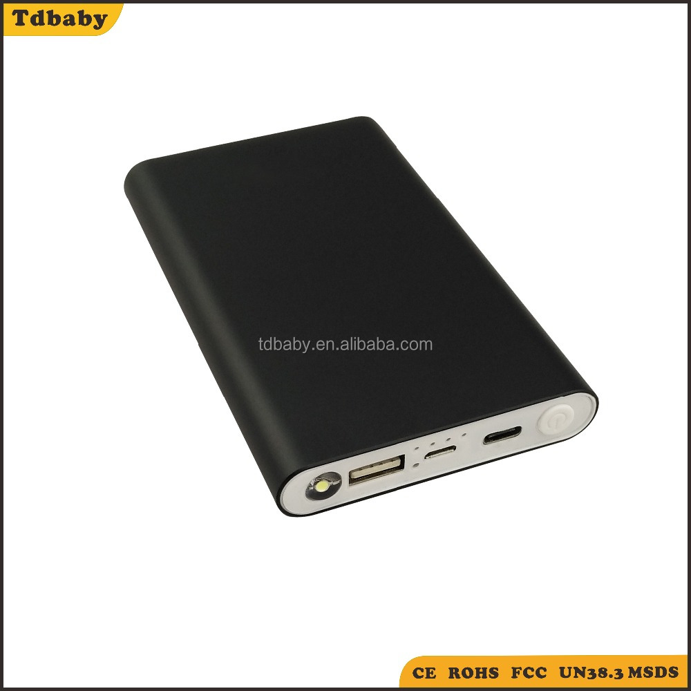 portable metal case 8000mAh Type C QC 3.0 quick charging power bank with polymer battery